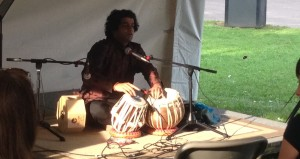 Amit Kavthekar gives a tabla demonstration at the Salem Jazz and Soul Festival Education Tent. Saturday August 16th, 2014.