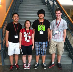 2013 SJSF Scholarship recipients Brandon Von, Salena Von, Alex Wang and Samuel Clyne at the 2013 Salem State University Northeast Jazz and Recording Camp.